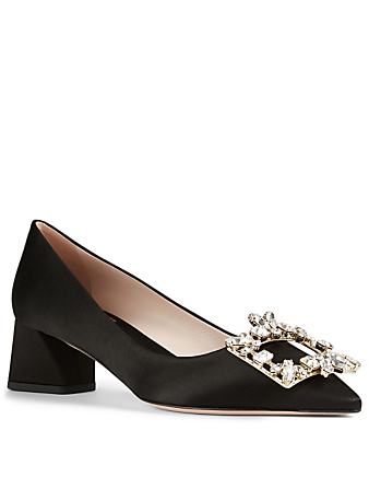 ROGER VIVIER Broche Vivier Decolleté 45 Satin Pumps Women's Black