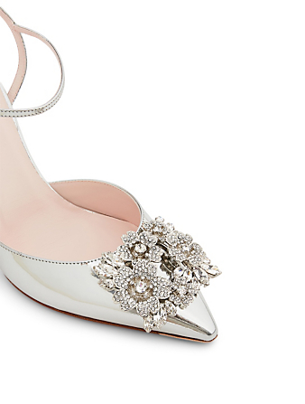 ROGER VIVIER RV Bouquet Strass 100 Mirrored Leather Slingback Pumps Women's Metallic