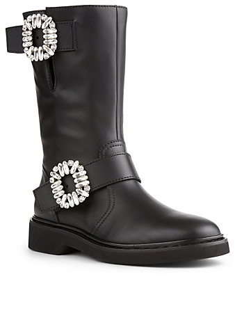 ROGER VIVIER Viv' Biker 25 Strass Leather Boots Women's Black
