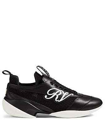 ROGER VIVIER Viv' Match RV Leather And Mesh Sneakers Women's Black