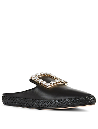 ROGER VIVIER RV Lounge Strass Buckle Leather Flat Mules Women's Black