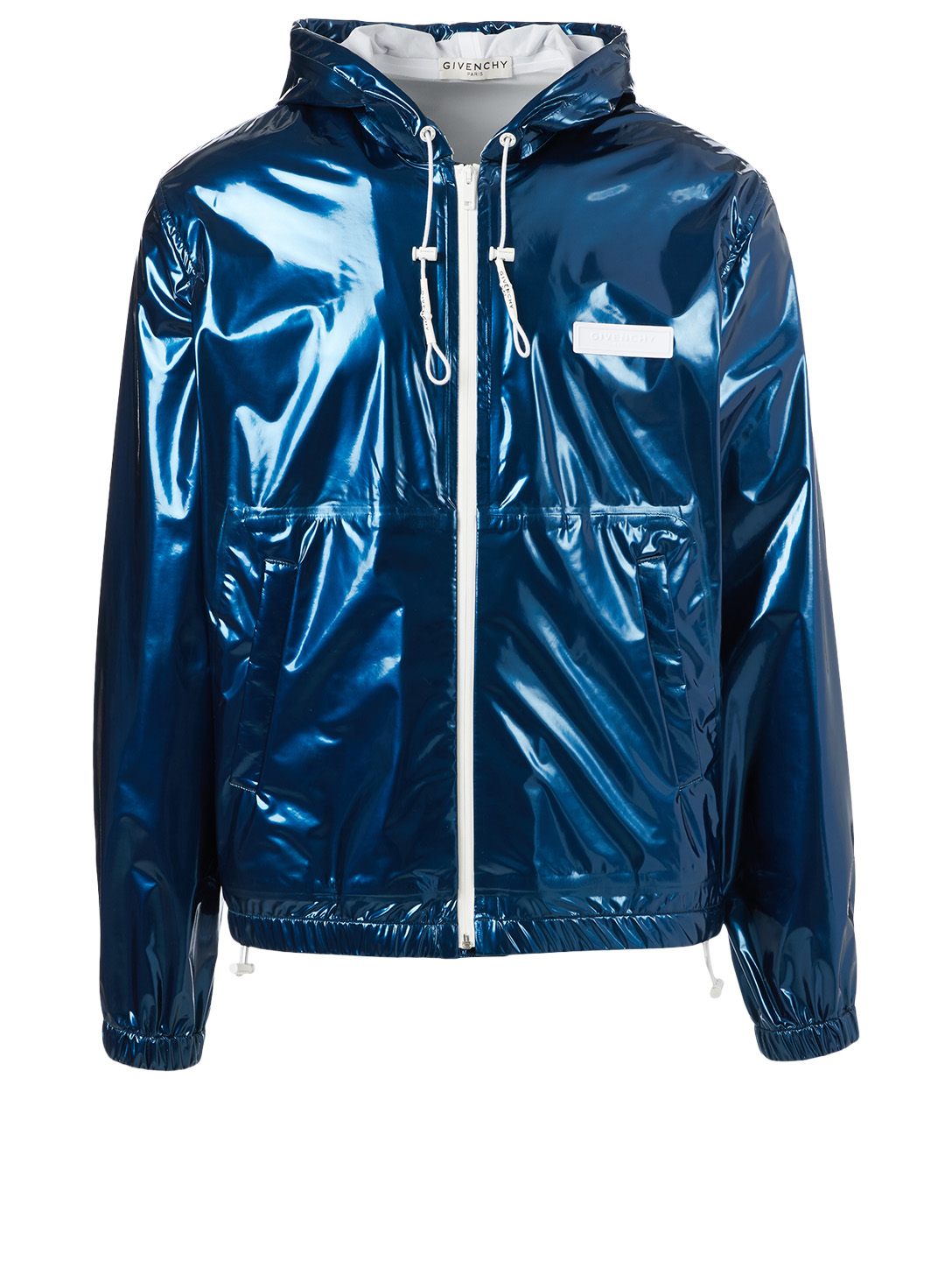 GIVENCHY Varnished Windbreaker With Contrast Detail Men's Blue