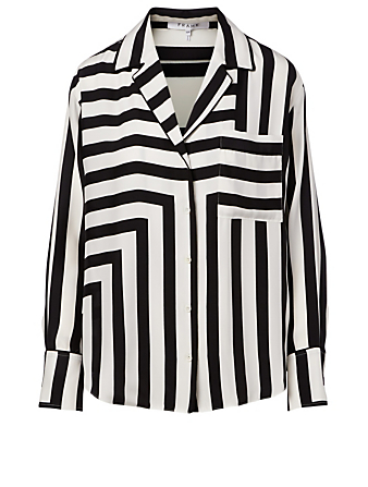 FRAME Silk Blouse In Stripe Print Women's White