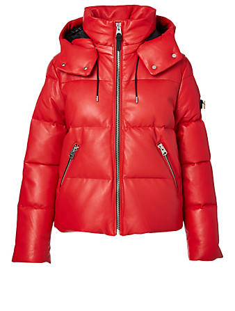 MACKAGE Tory LNY Leather Down Jacket With Hood Women's Red