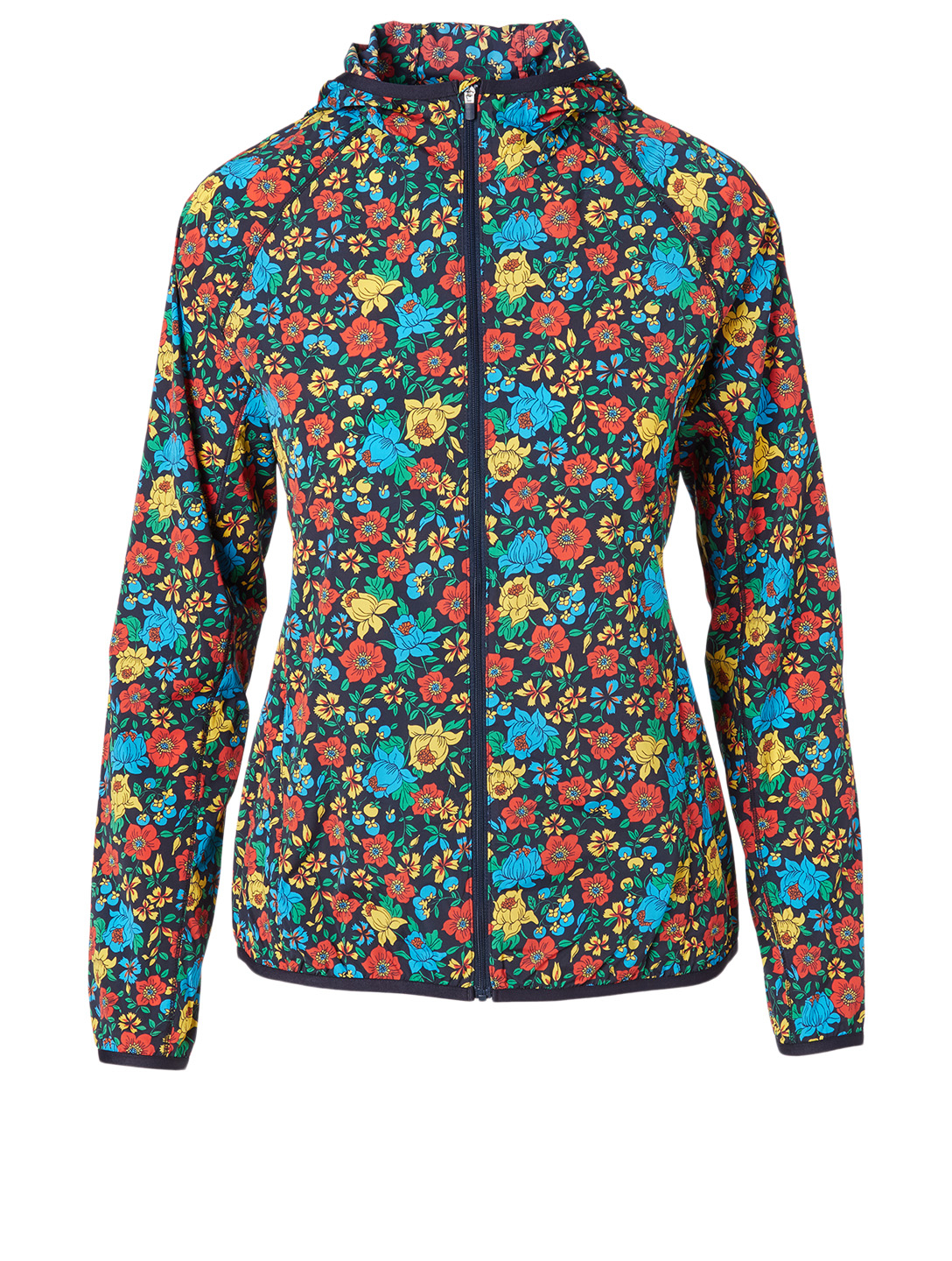 TORY SPORT Nylon Packable Jacket In Primary Flora Print Women's Blue