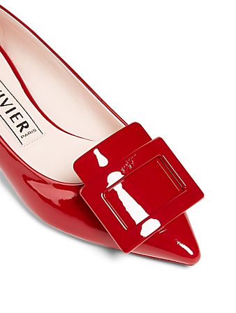 ROGER VIVIER Gommettine 25 Patent Leather Flats Women's Red