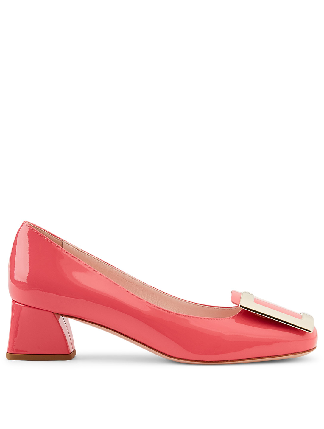 ROGER VIVIER Très Vivier 45 Patent Leather Pumps Women's Pink