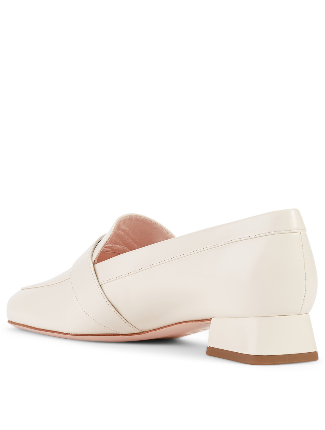 ROGER VIVIER Leather Loafers With RV Mini Buckle Women's White