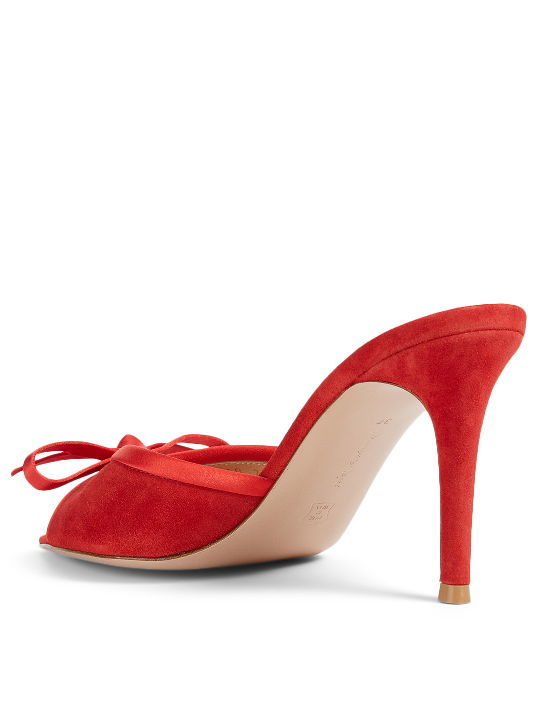 GIANVITO ROSSI Izzy Suede Mules With Bow Women's Red