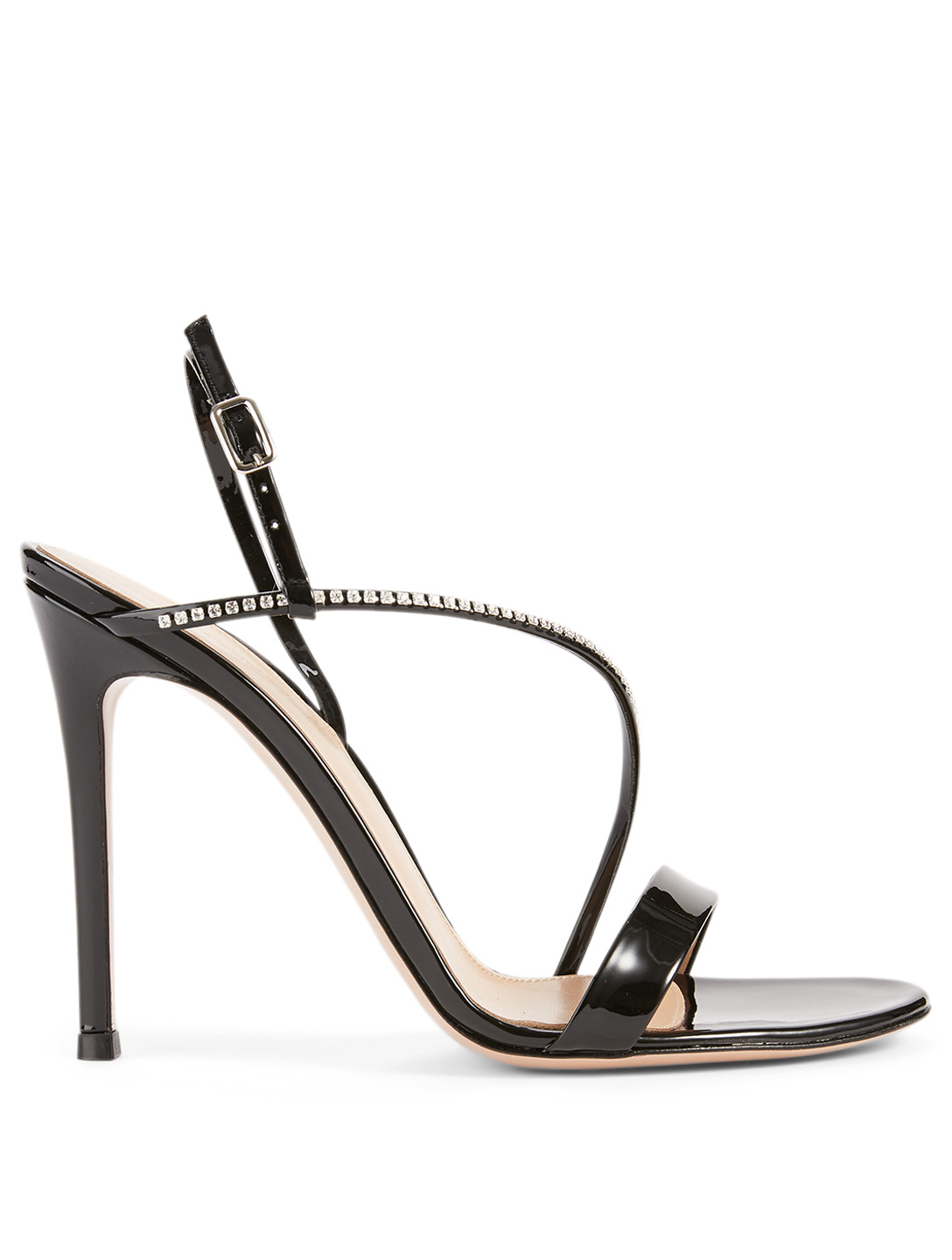 GIANVITO ROSSI Manhattan 105 Patent Leather Heeled Sandals With Crystal Strap Women's Black