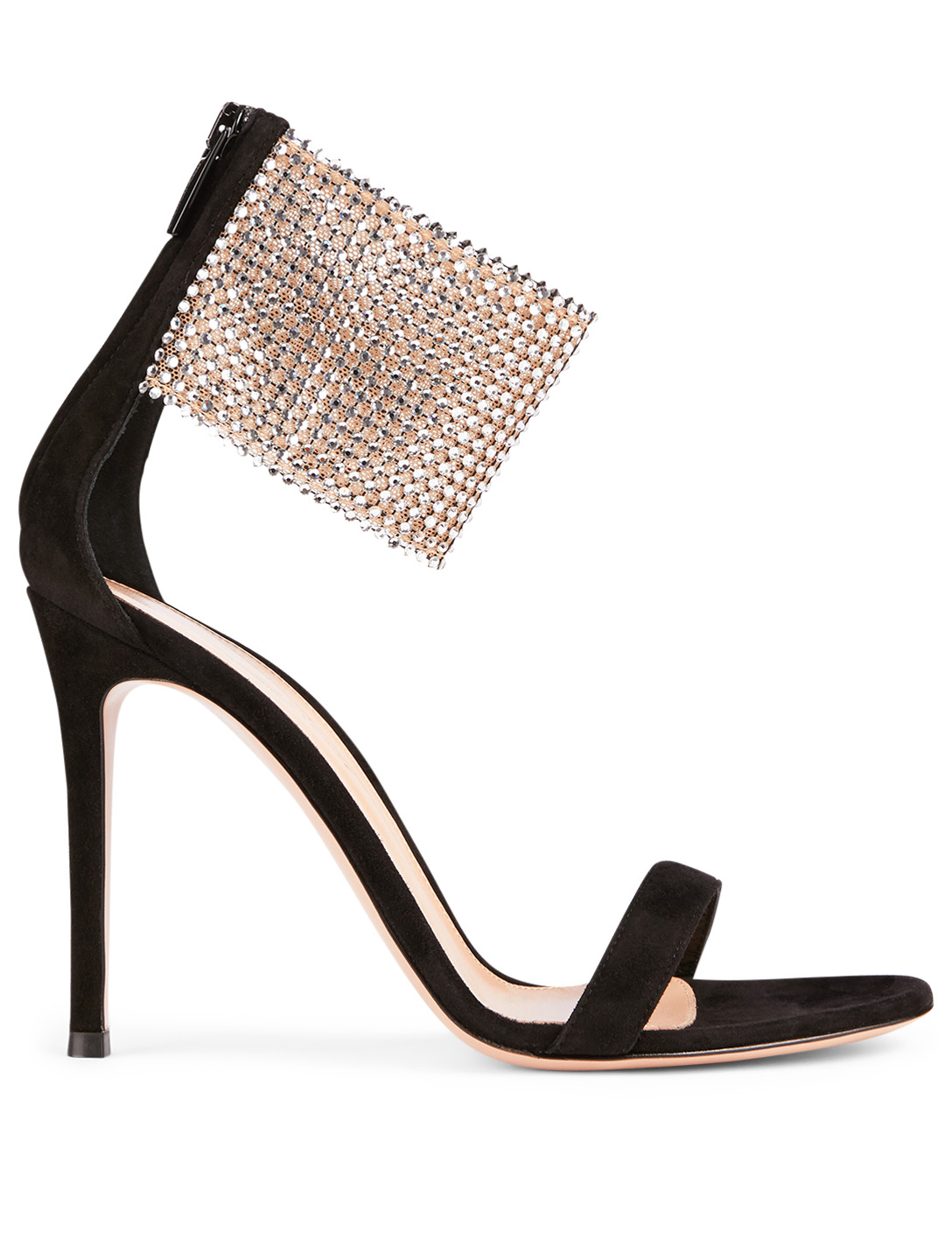 GIANVITO ROSSI Adore Suede Heeled Sandals With Crystal Cuff Women's Black