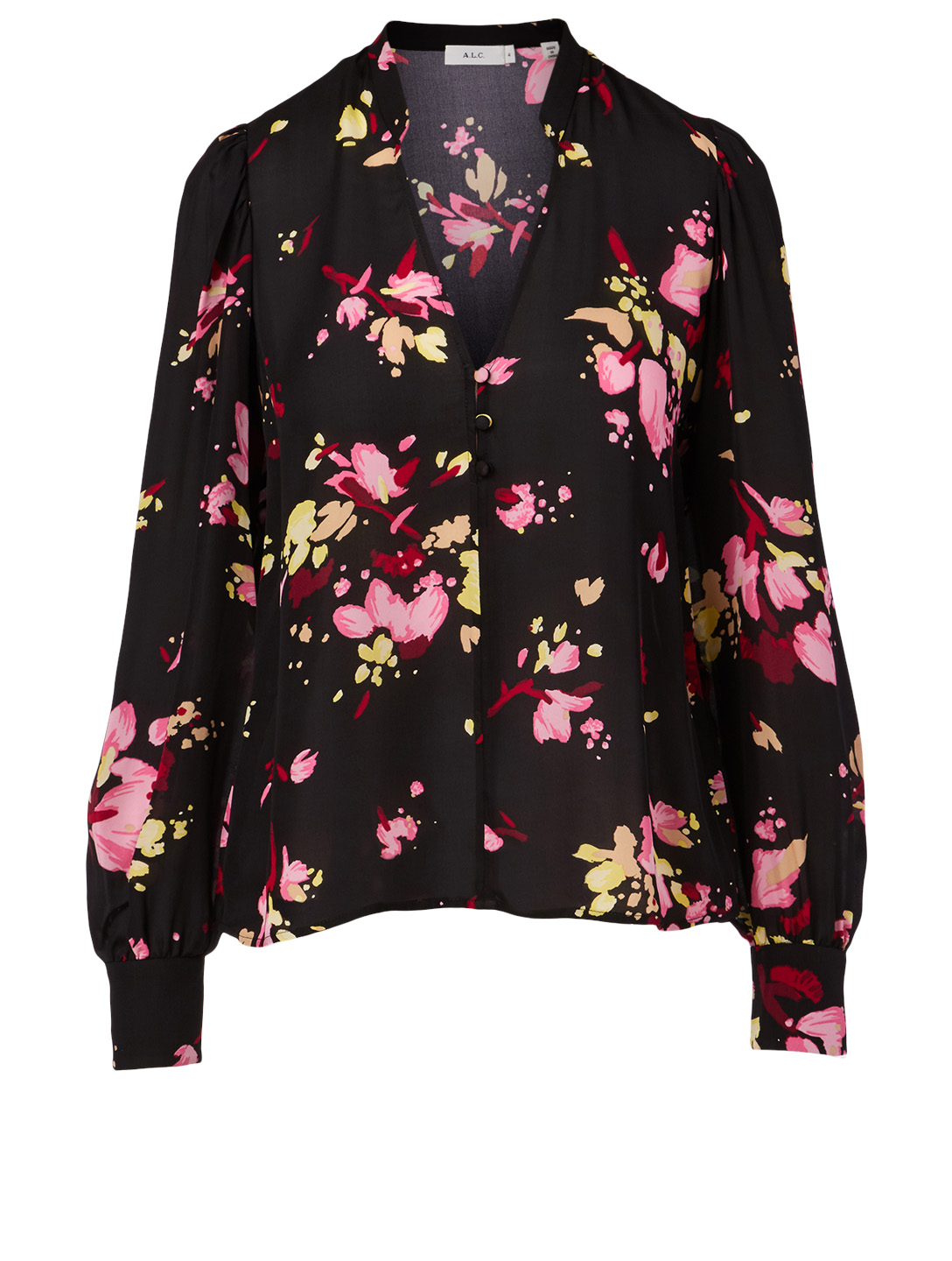 A.L.C. Rivera Silk Top In Floral Print Women's Black