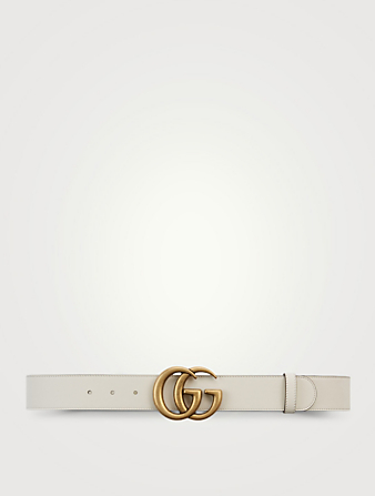 GUCCI Leather Belt With Double G Buckle Women's White
