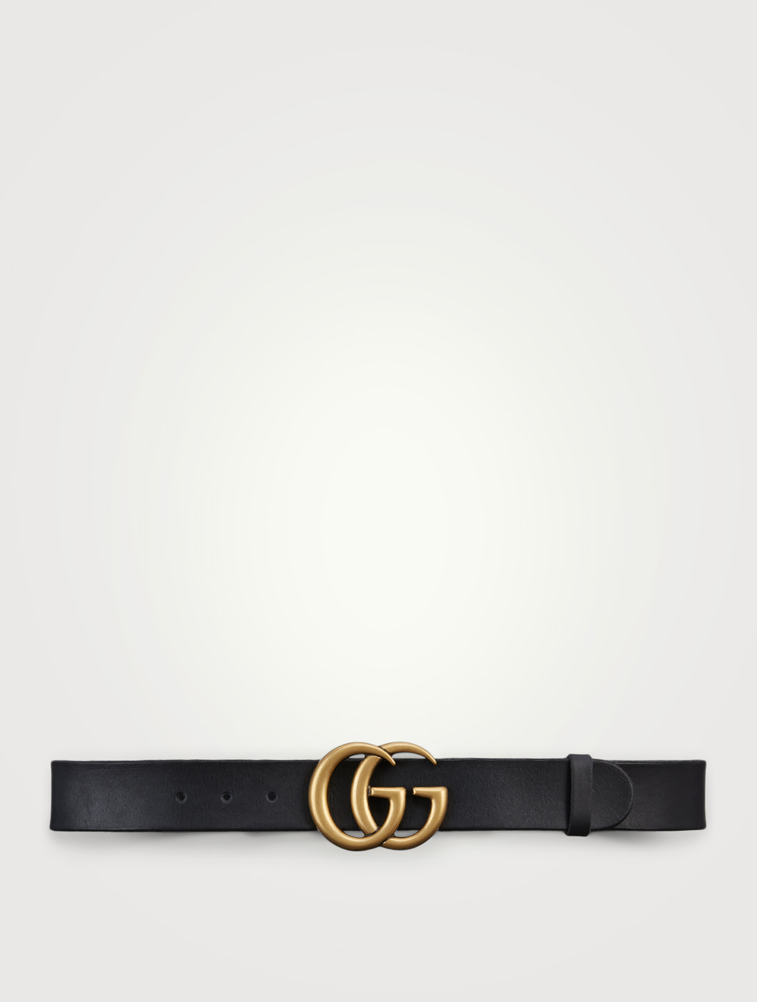 GUCCI Leather Belt With Double G Buckle Women's Black