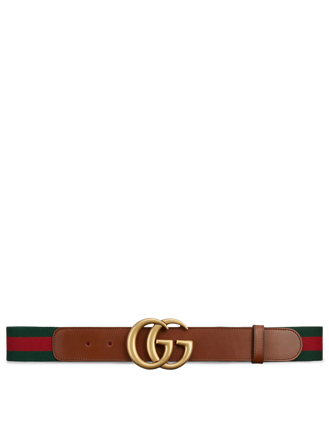 GUCCI Web Belt With Double G Buckle Women's Brown