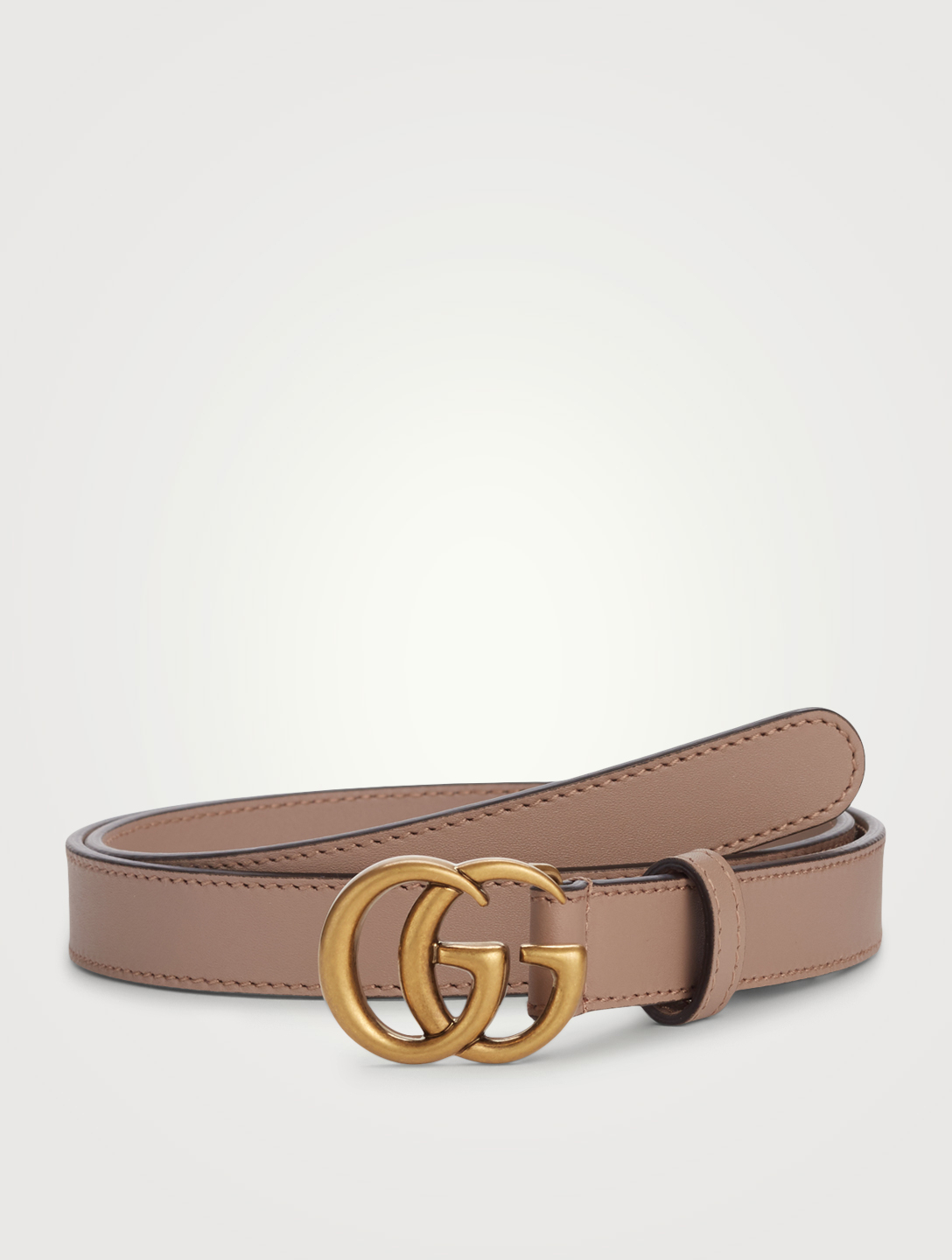 GUCCI Leather Belt With Double G Buckle Women's Pink