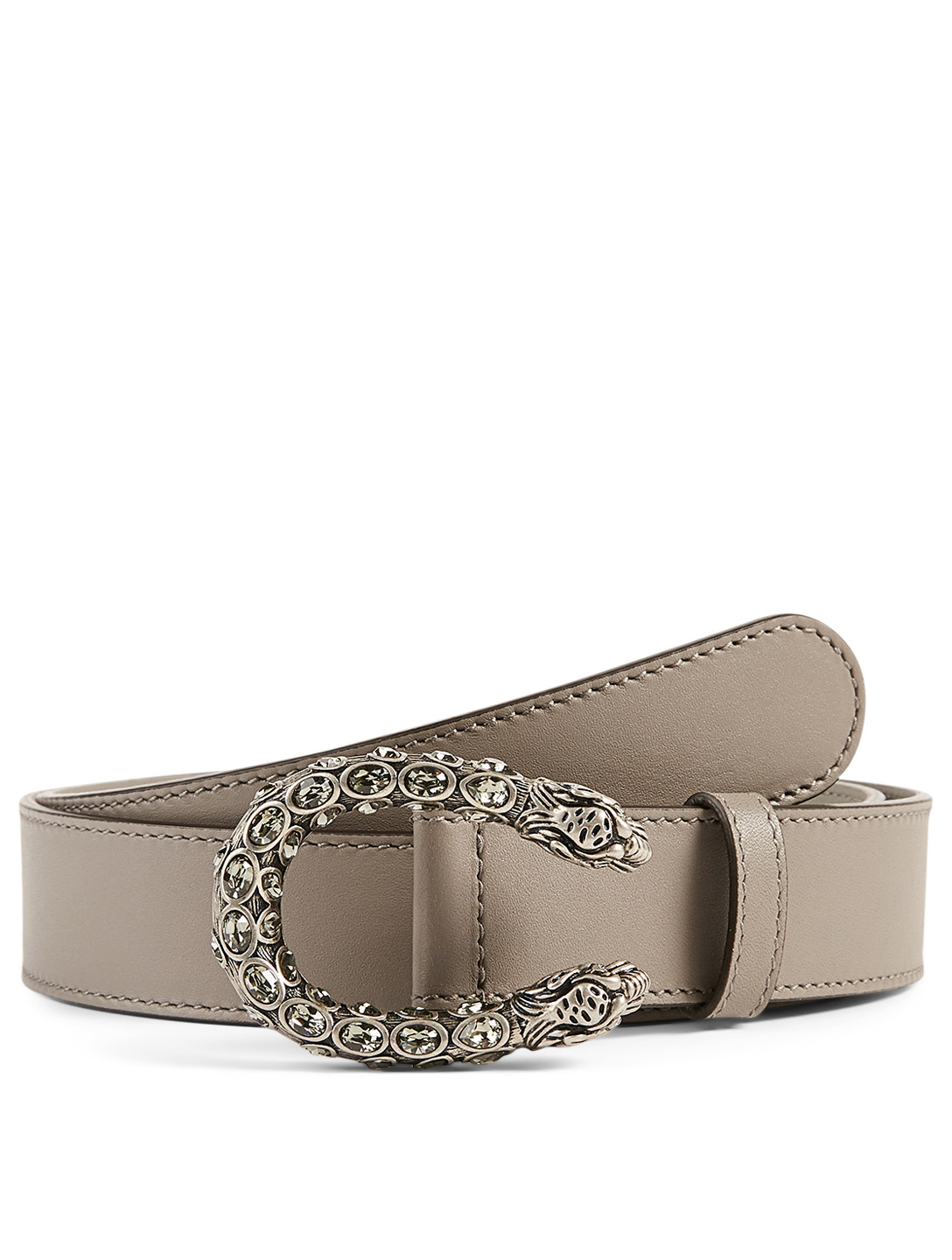 GUCCI Leather Belt With Crystal Dionysus Buckle Women's Grey