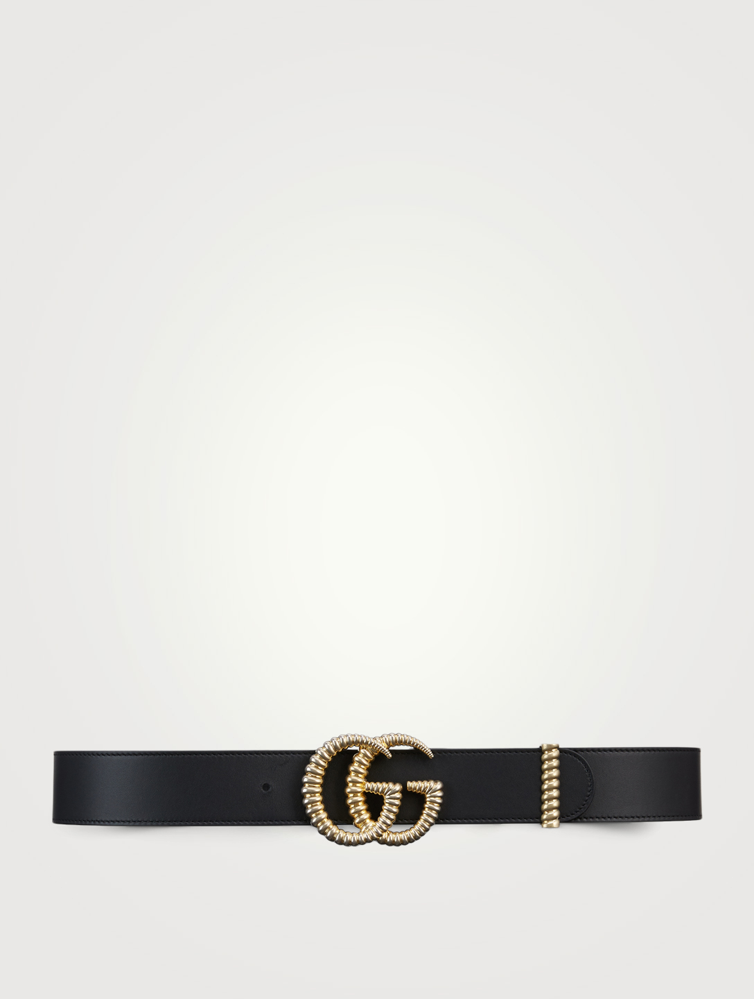 GUCCI Leather Belt With Torchon Double G Buckle Women's Black