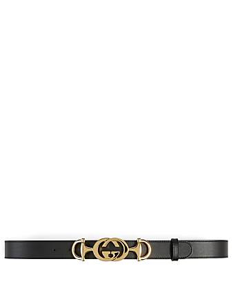 GUCCI Leather Belt With Interlocking G Horsebit Buckle Women's Black