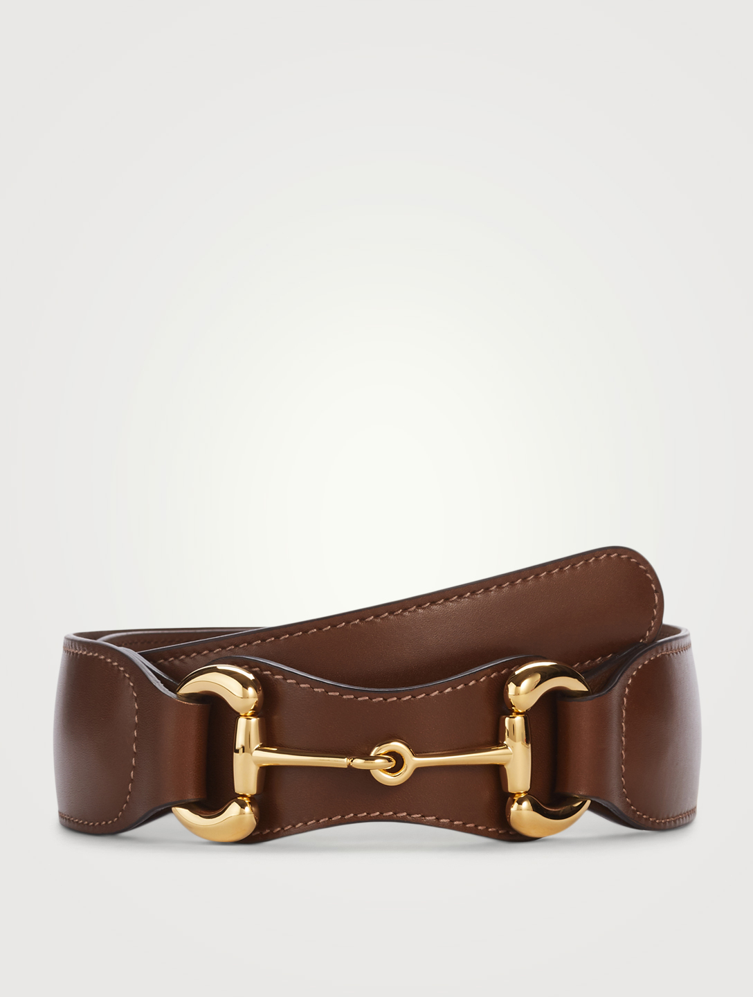 GUCCI Leather Belt With Horsebit Buckle Women's Brown