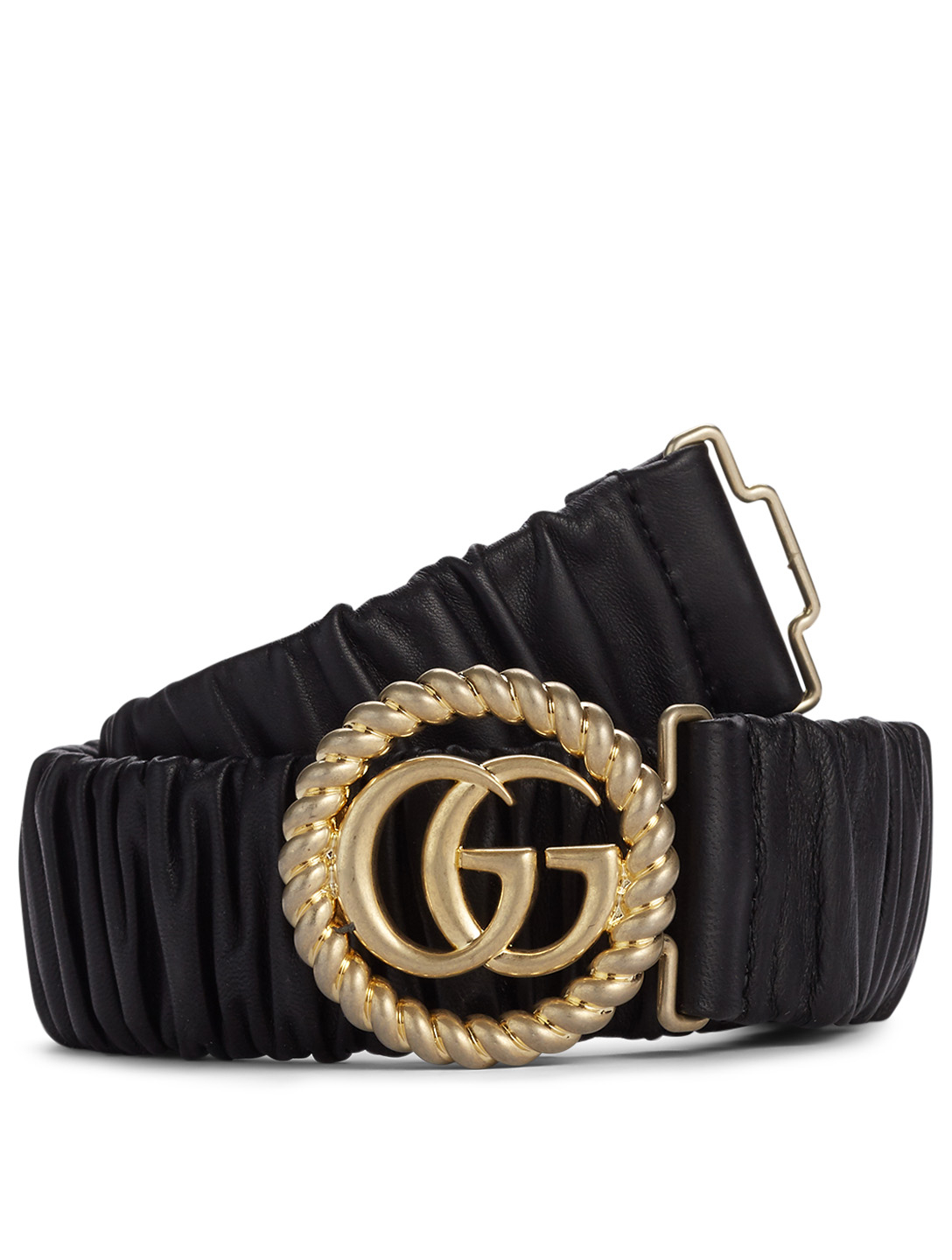 GUCCI Elastic Leather Belt With Double G Buckle Women's Black