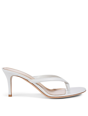 GIANVITO ROSSI Calypso Leather Heeled Thong Sandals Women's White