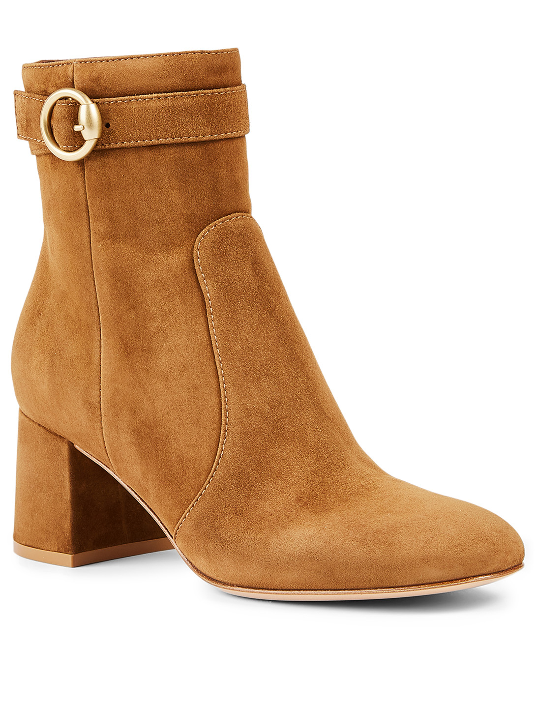 GIANVITO ROSSI Milo 60 Suede Heeled Ankle Boots Women's Beige