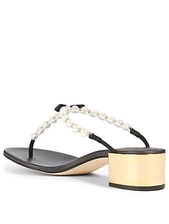 RENE CAOVILLA Eliza 40 Leather Pearl Thong Heeled Sandals Women's Black