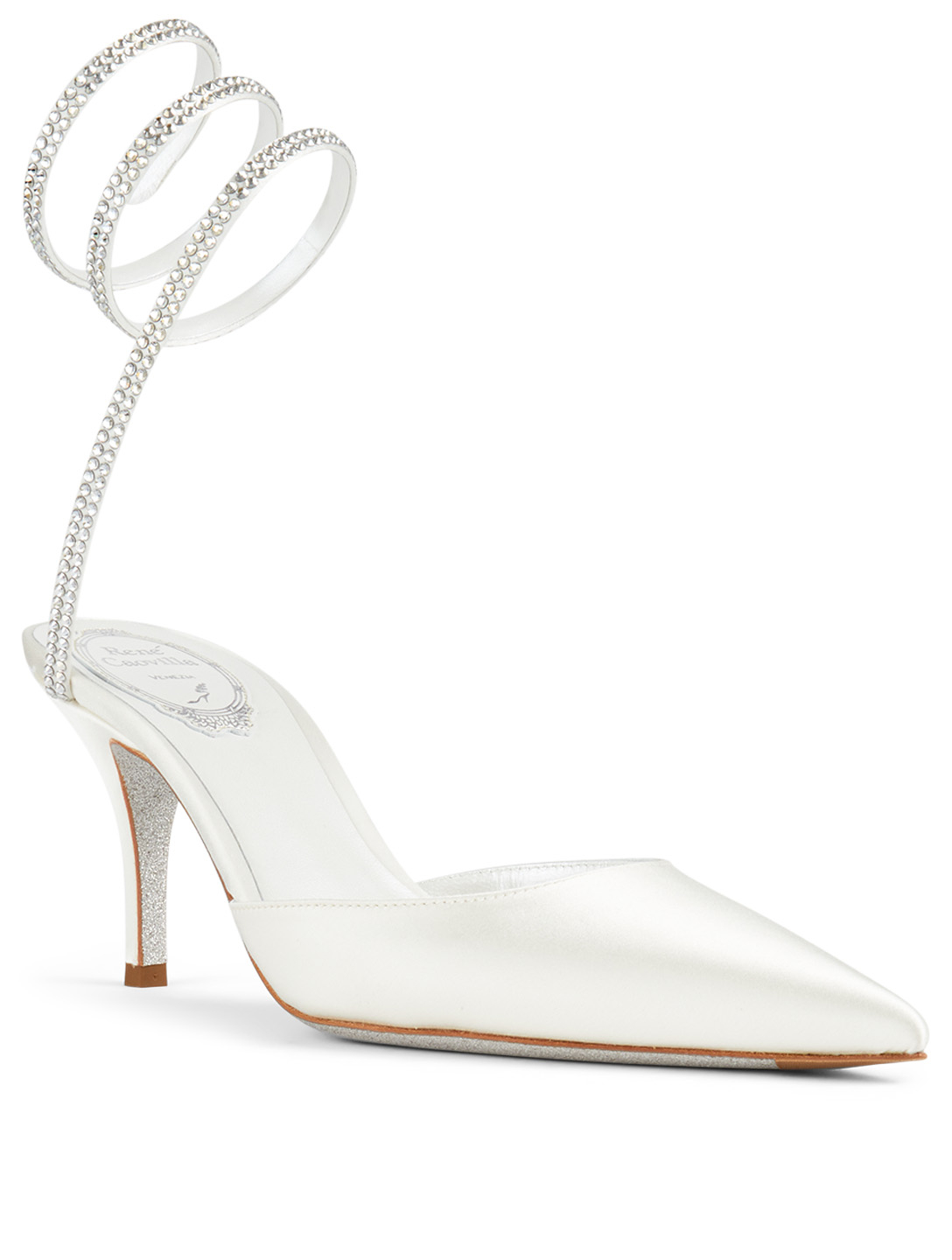 RENE CAOVILLA Cleo 75 Satin Crystal Coil Pumps Women's White