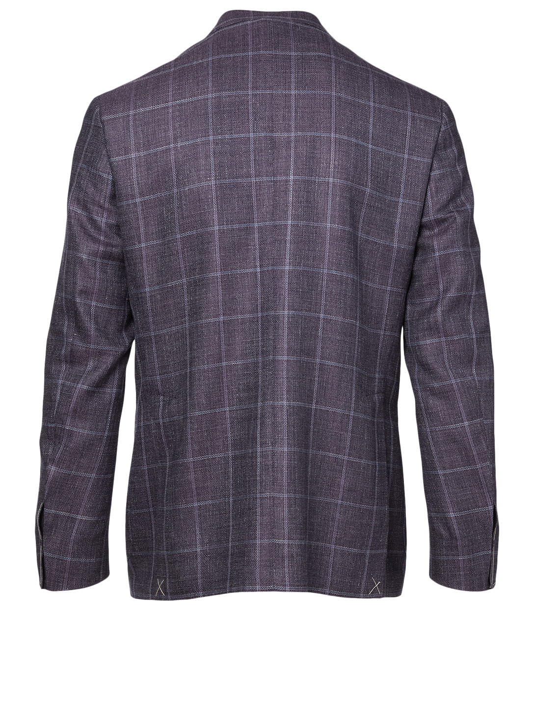 CANALI Wool And Silk Jacket In Check Print Men's Purple