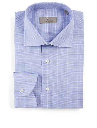 CANALI Cotton Shirt In Check Print Men's Blue