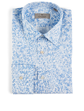 CANALI Cotton Shirt In Floral Print Men's White