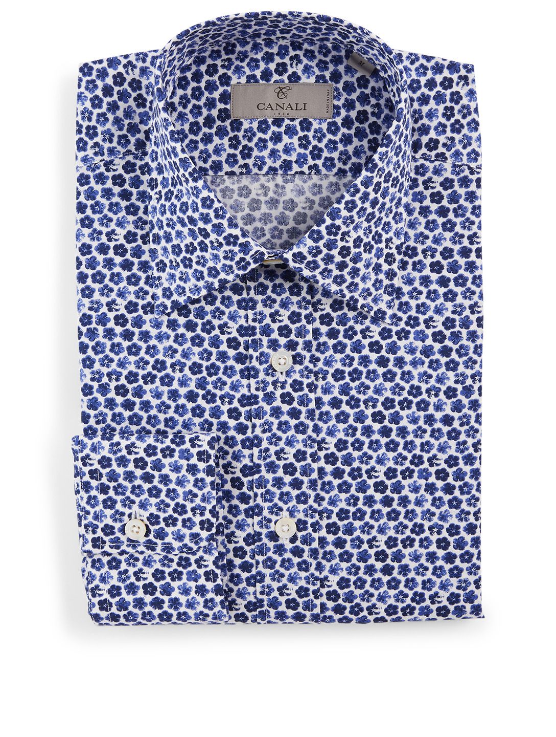 CANALI Cotton Shirt In Floral Print Men's Blue