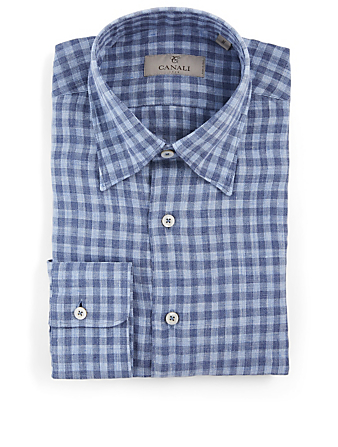 CANALI Cotton Shirt In Gingham Print Men's Blue