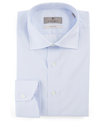 CANALI Cotton Shirt In Circle Print Men's Blue