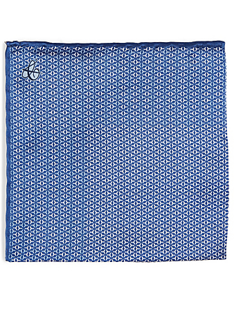 CANALI Silk Pocket Square In Geometric Print Men's Blue