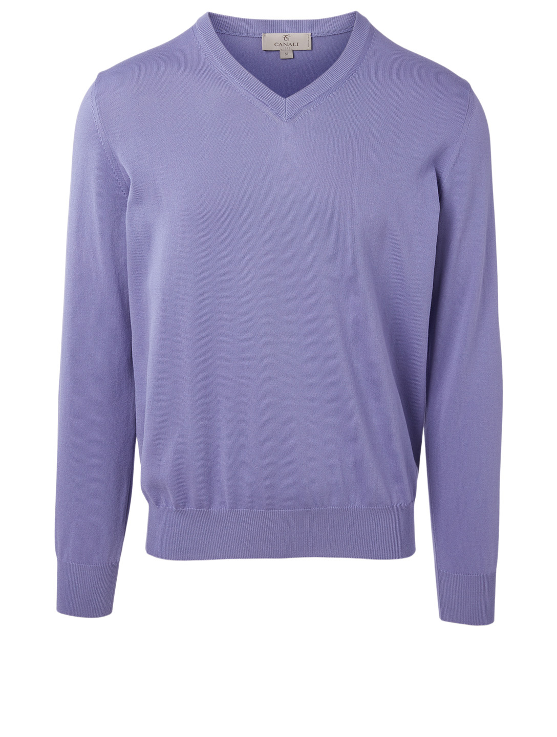 CANALI Cotton V-Neck Sweater Men's Purple