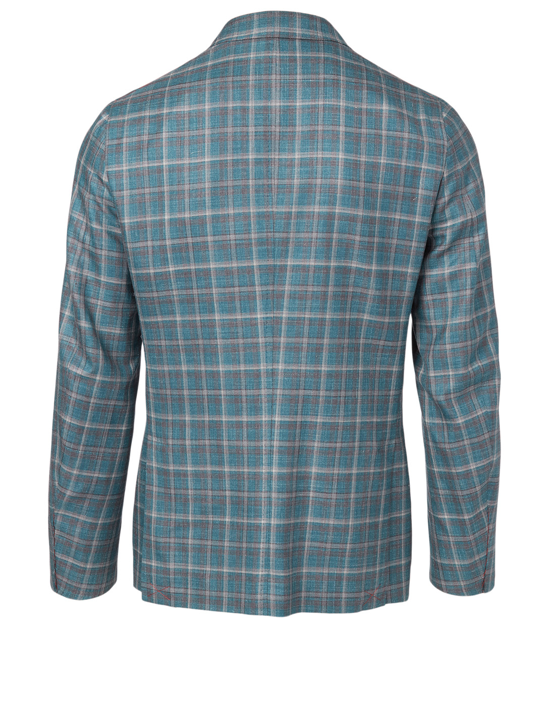 ISAIA Wool And Silk Jacket In Plaid Print Men's Blue