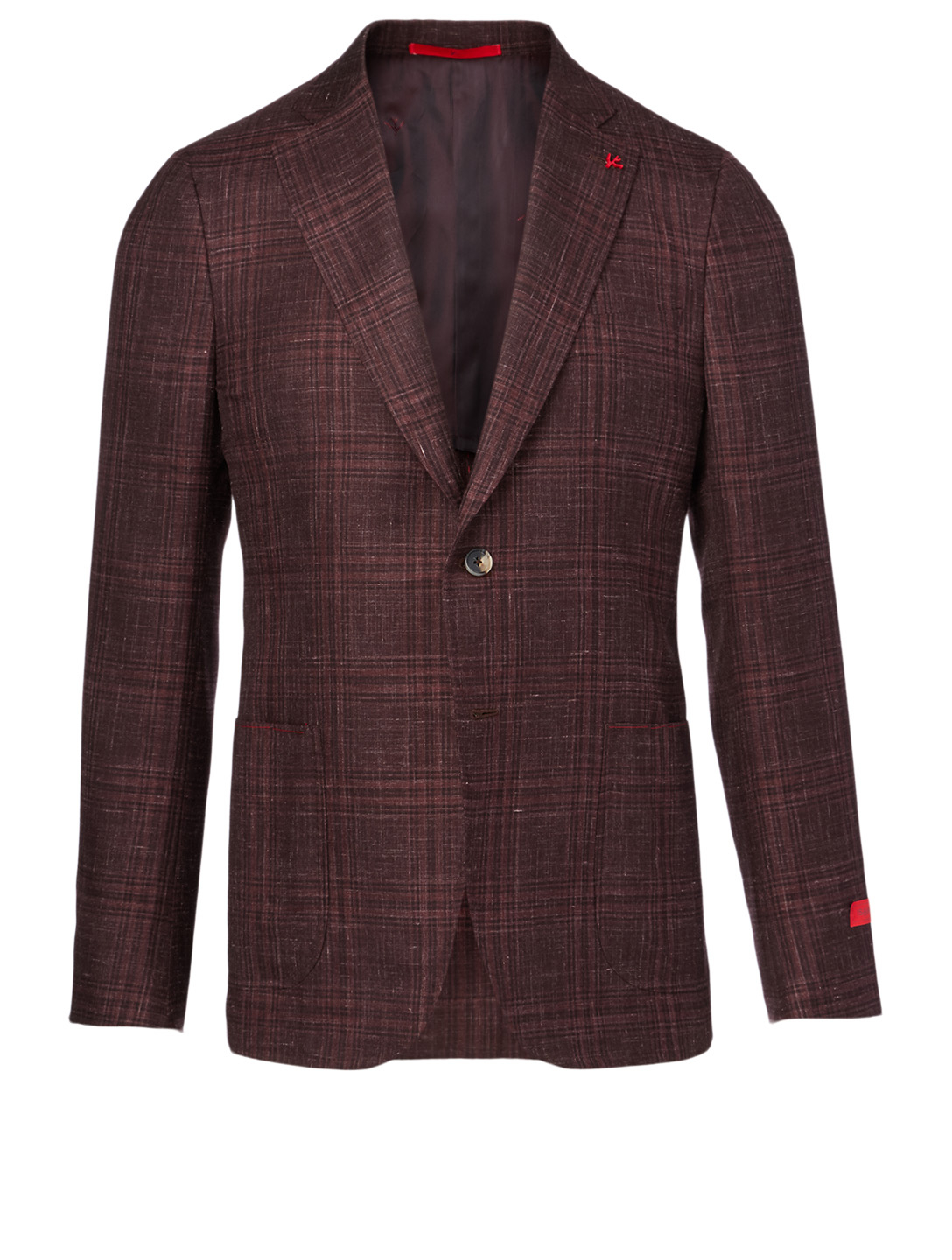 ISAIA Cashmere And Silk Jacket In Tonal Plaid Print Men's Red