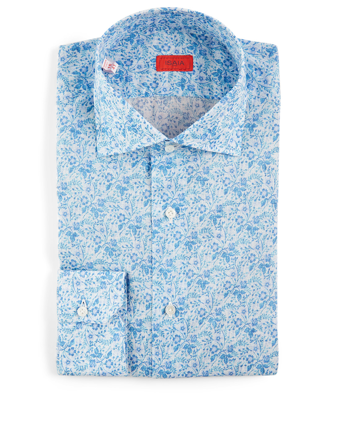 ISAIA Dress Shirt In Floral Print Men's Blue
