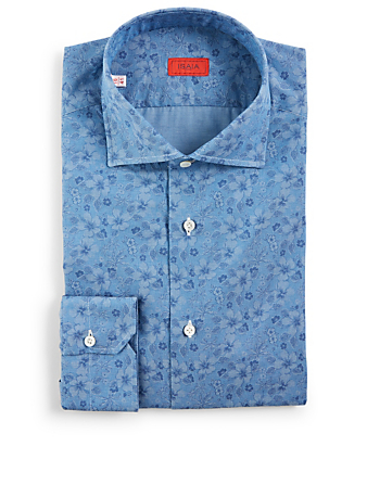 ISAIA Dress Shirt In Floral Denim Print Men's Blue