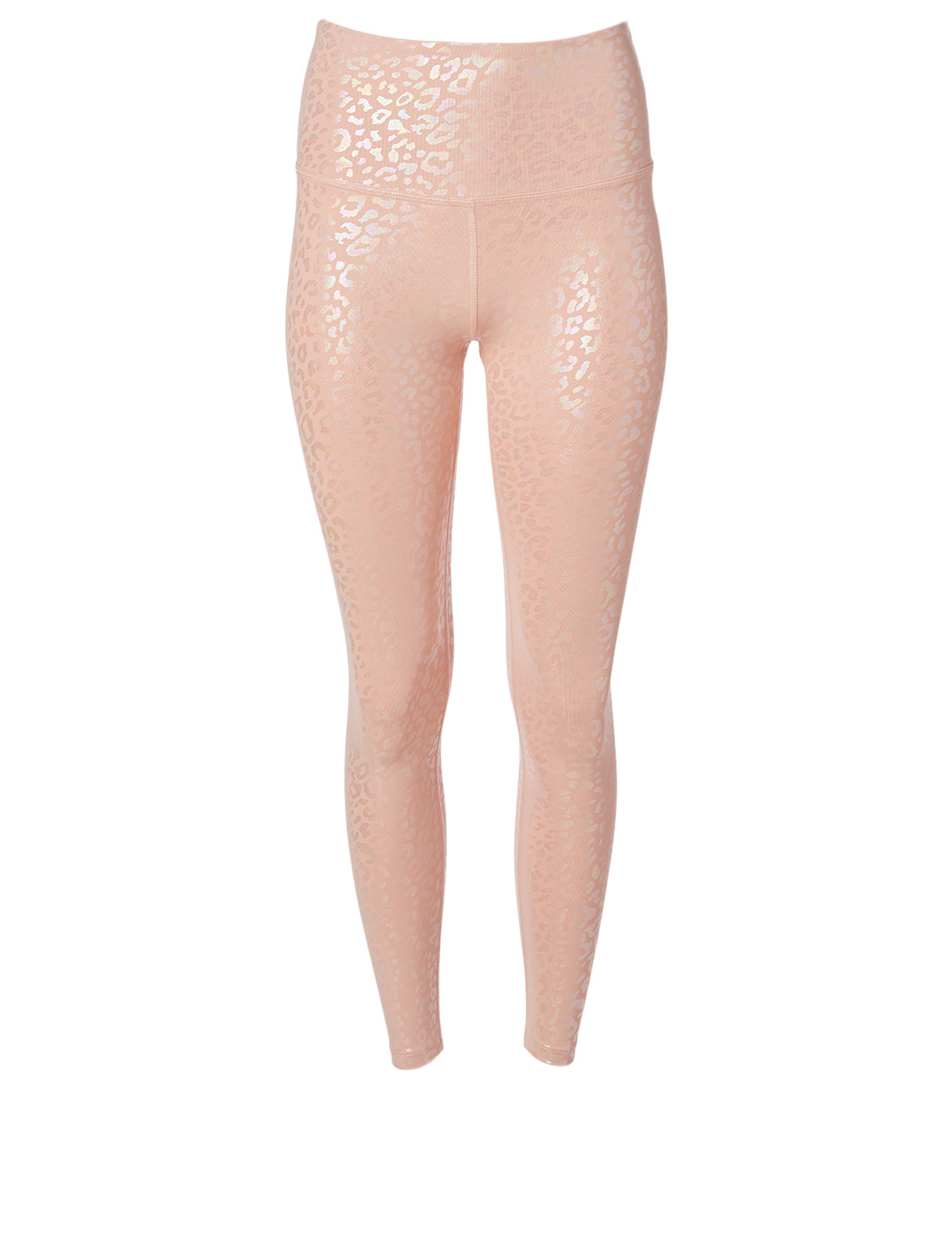 BEYOND YOGA High-Waisted Midi Leggings In Leopard Foil Print Women's Pink