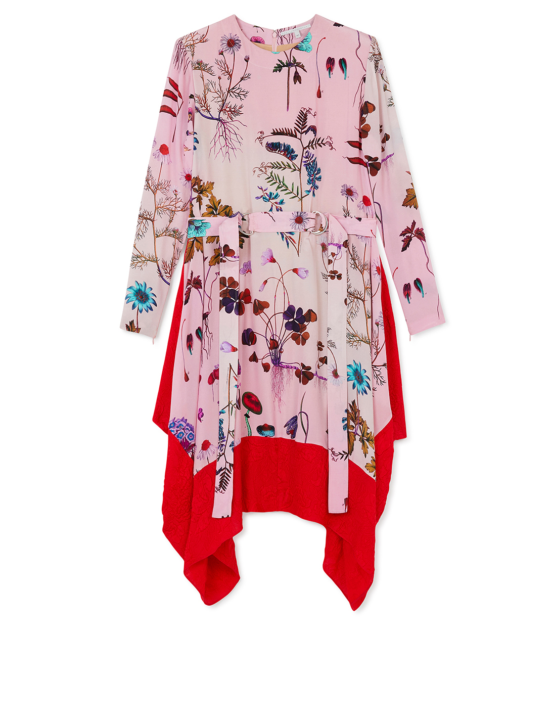 STELLA MCCARTNEY Silk Long-Sleeve Dress In Floral Print Women's Pink