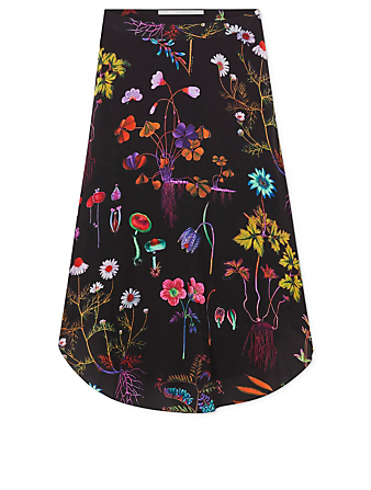 STELLA MCCARTNEY Silk Midi Skirt In Floral Print Women's Black