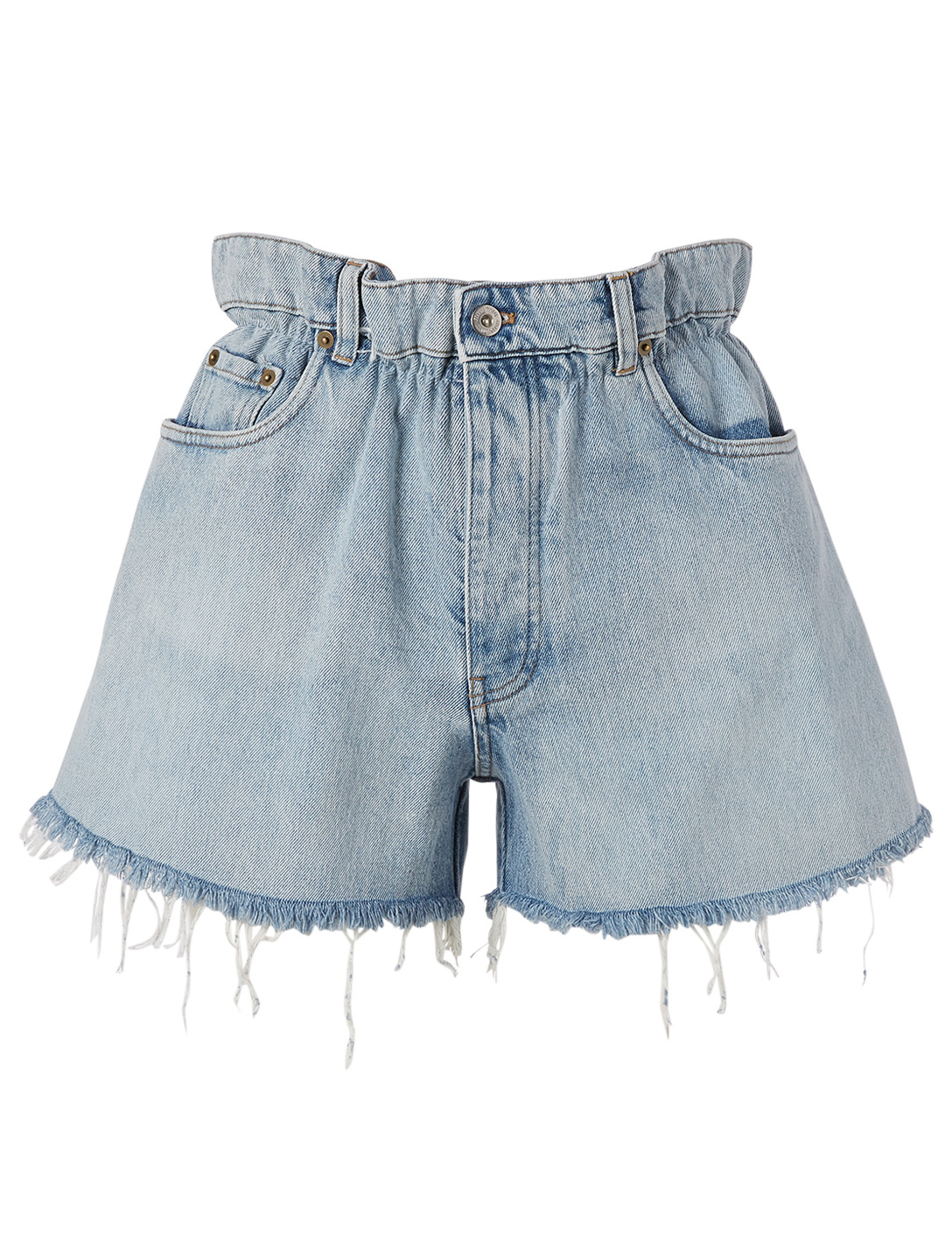 MIU MIU Paperbag High-Waisted Jean Shorts Women's Blue