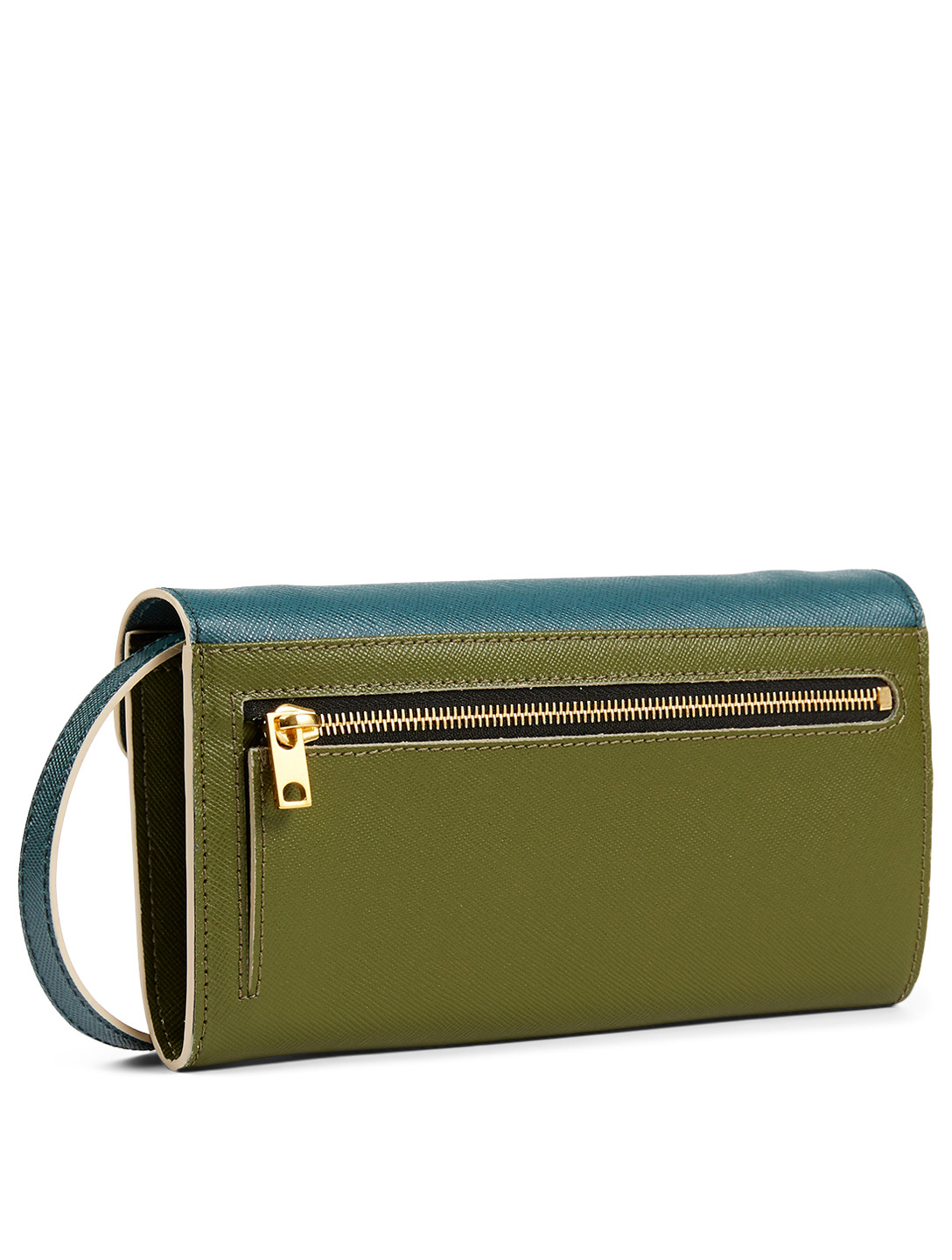 MARNI Trunk Chain Colourblock Leather Wallet Bag Women's Blue