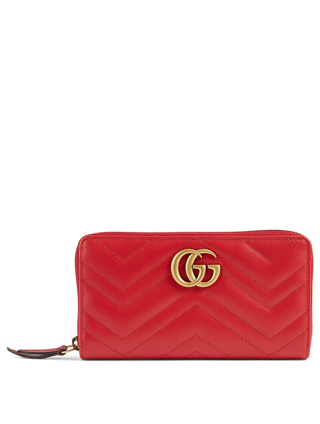 GUCCI GG Marmont Matelassé Leather Wallet Women's Red