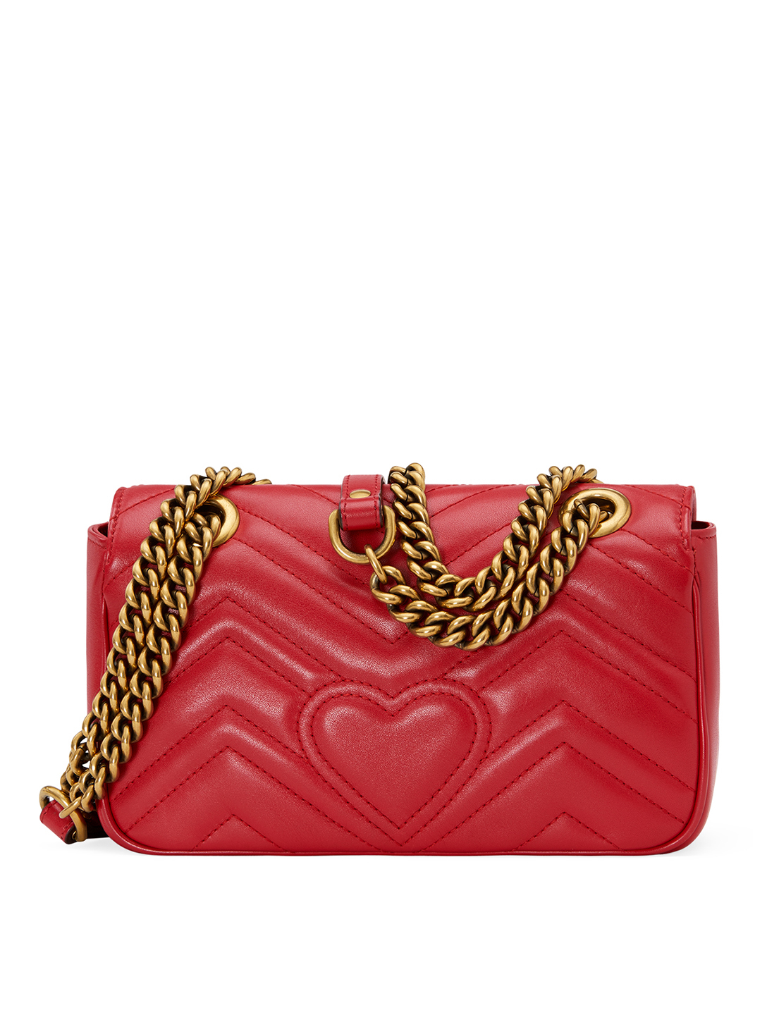 GUCCI Mini GG Marmont Leather Chain Shoulder Bag Women's Red