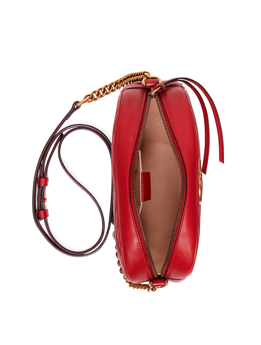 GUCCI Small GG Marmont Leather Chain Shoulder Bag Women's Red