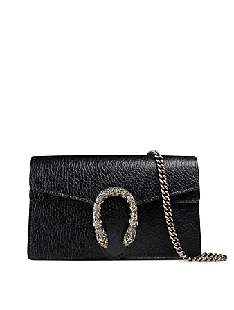 GUCCI Super Mini Dionysus Leather Chain Bag Women's Black